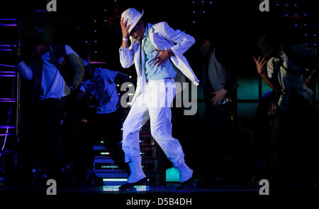 Singer and dancer Jovanny Pichardo performs as Michael Jackson during a rehearsal of the Jackson musical 'Thriller - Stock Photo