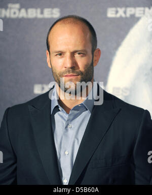 British actor Jason Statham smiles as he promotes his new movie 'The Expendables' in Berlin, Germany, 06 August - Stock Photo