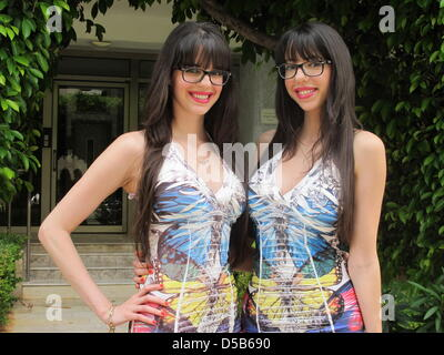(dpa file) - A file picture dated 30 September 2009 shows the sisters 'Double Da', two well-known   Tel Aviv party - Stock Photo
