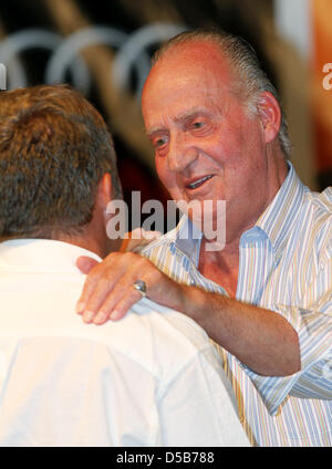 Spanish King Juan Carlos during the award ceremony of the 29th Copa del Rey sailing race, the 29th edition of the - Stock Photo