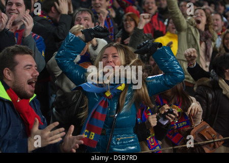 Barcelona, Spain, football fans of FC Barcelona at the Camp Nou stadium - Stock Photo