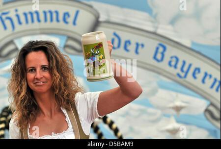 Francesca presents the official 200 year Jubilee Stein 'Wiesn-Bierkrug' 2010, in Munich, Germany, 19 August 2010. - Stock Photo
