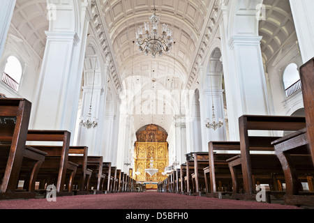 GOA, INDIA - NOVEMBER 14: Inside Se Cathedral in Old Goa, Goa, India, November, 14, 2012 in Goa, India. - Stock Photo