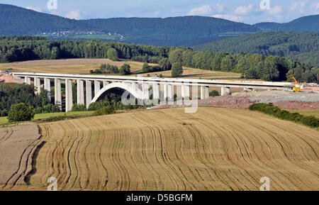 A picture taken on 25 August shows the construction site of a bridge that is built for the future InterCityExpress - Stock Photo