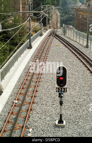 Looking down onto the Montserrat Rack Railway as it descends from Montserrat - Stock Photo