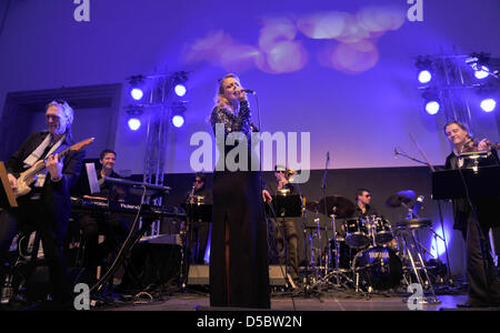 pregnant moderator and singer barbara schoeneberger arrives at the stock photo 54965539 alamy. Black Bedroom Furniture Sets. Home Design Ideas