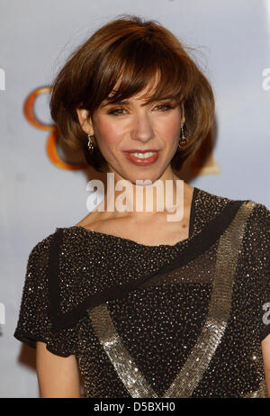British actress Sally Hawkins poses for photographers in the press room at the 67th Golden Globe Awards in Los Angeles, - Stock Photo