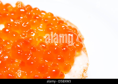 Russian Red Caviar border isolated on white backgrond - Stock Photo