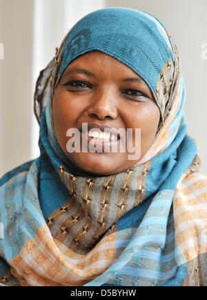 Kenyan peace activist Dekha Ibrahim Abdi speaks at a press conference in Frankfurt Main, Germany, 20 January 2010. - Stock Photo