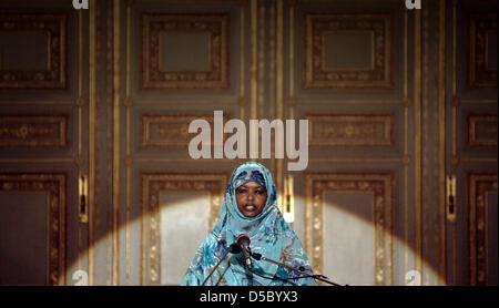 Kenyan peace activist Dekha Ibrahim Abdi gives a speech in Wiesbaden, Germany, 21 January 2010. The Hessian Peace - Stock Photo