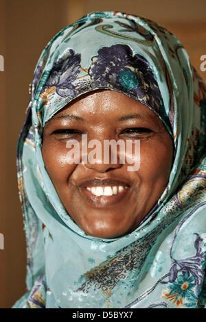 Kenyan peace activist Dekha Ibrahim Abdi smiles in Wiesbaden, Germany, 21 January 2010. The Hessian Peace Prize - Stock Photo