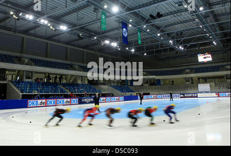 Participants of the men's forerun over 1500m curve during the Shorttrack European Cup at Freiberger Arena in Dresden, - Stock Photo