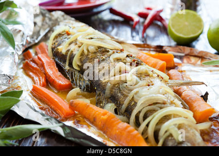 Zander fish baked stock photo royalty free image for Grill fish in foil