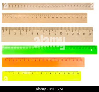 rulers isolated on white background - Stock Photo