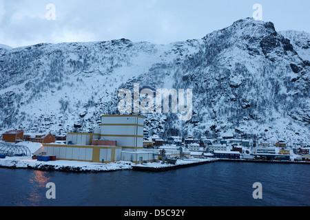 oksfjord during winter norway europe - Stock Photo