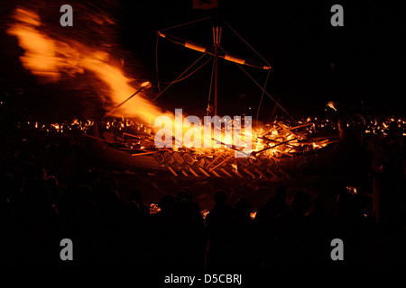 Up Helly Aa 2013 Europe's largest fire festival held in Lerwick the capital of Shetland Scotland UK - Stock Photo