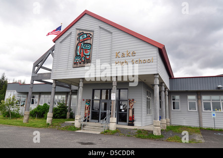 School in the Tlingit town of Kake, Alaska. - Stock Photo