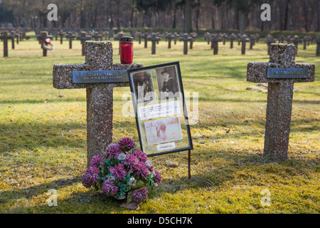 Story of an old man finding back his brother after 60 years at the German War Cemetery at Kattenbos Lommel in Belgium - Stock Photo