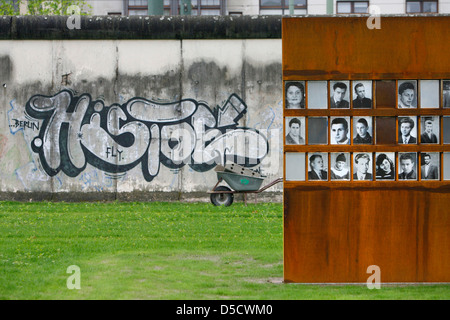 Berlin, Germany, the wall remains at the memorial on Bernauer Stra √ üe - Stock Photo
