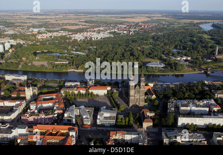 Magdeburg, Germany, aerial photograph with the Cathedral of Magdeburg on the Elbe - Stock Photo