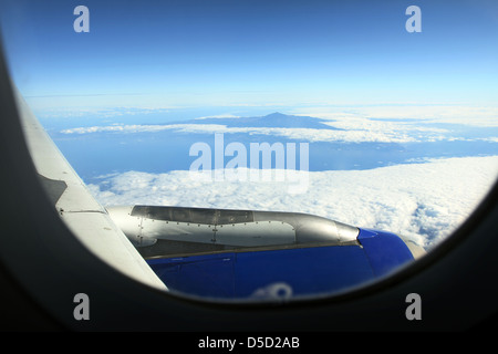 Santiago del Teide, Spain, overlooking the volcano Mount Teide from the air - Stock Photo