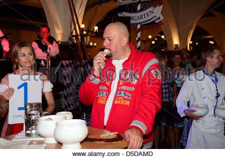 Schreiner Essen jumbo schreiner bavarian veal sausage contest stock photo