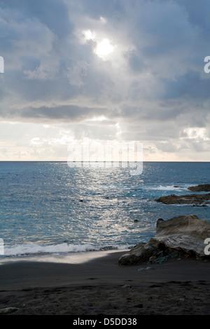 Ajuy, Spain, overlooking the sea on the Canary Island of Fuerteventura - Stock Photo