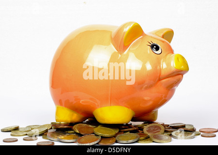 piggy bank with euro coins on the white background - Stock Photo