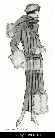 Paris fashion of 1923 by designer Philippe & Gaston. Coat of grey velours de laine trimmed with grey fox fur. - Stock Photo