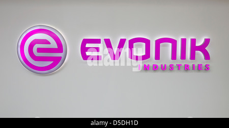 Essen, Germany, the corporate logo of Evonik Industries AG - Stock Photo