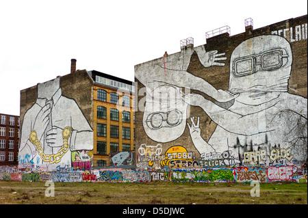 Berlin, Germany, fire walls with murals on the Mediaspree terrain - Stock Photo