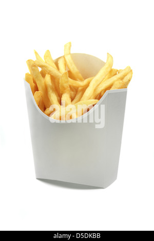 french friesin white paper wrap  isolated on white background - Stock Photo