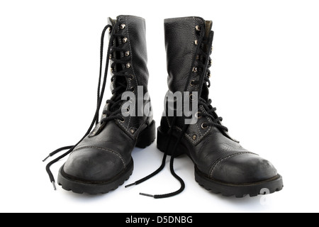Leather Style Black Army Photo Boots Laces Stock With mvynwN8O0