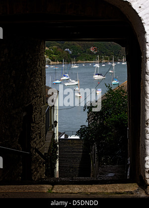 Looking out across the Penryn River from Falmouth towards Flushing - Stock Photo