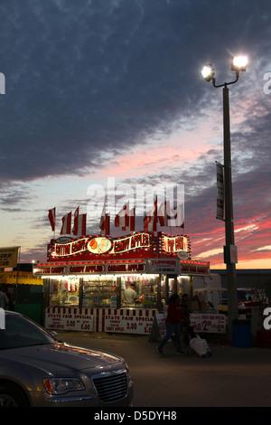 Dusk at St. Lucie County Fair, St Lucie, FL, USA - Stock Photo