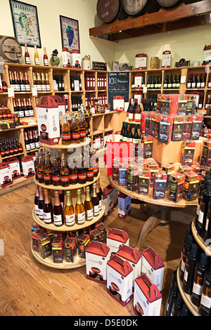 Wines on sale in shop at La Mare vineyards estate, Jersey, Channel Islands, UK - Stock Photo