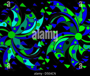 Colourful modern abstract design in green and blue on a black background  using geometric motifs  and perfect for - Stock Photo