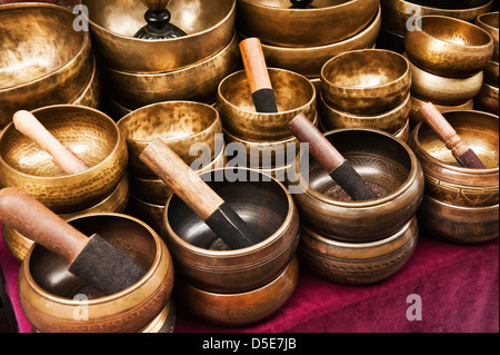 Mortar and pestle at a market stall, Nepal - Stock Photo