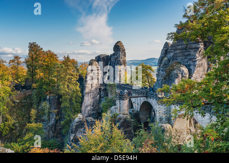 Rock formation Bastei (Bastion) and Bridge, Lohmen, Saxon Switzerland near Dresden, Saxony, Germany, Europe - Stock Photo