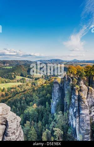 Medieval rock castle Neurathen, Saxon Switzerland, near Dresden, Saxony, Germany, Europe - Stock Photo