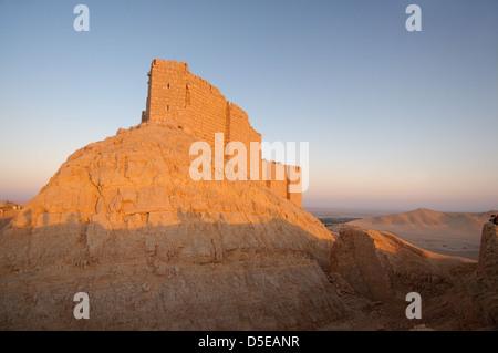 Medieval Arab fortress - Qala'at Ibn Maan (Ibn Maan castle, Fakhr al-Din al-Maani Castle), Palmyra, Syria - Stock Photo