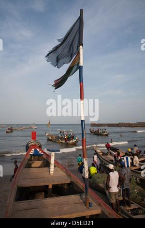 Fishing boats in Accra, Ghana. - Stock Photo