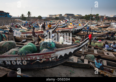 Fishing boats on the beach in Accra, Ghana. - Stock Photo