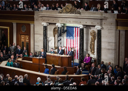 U.S. President Barack Obama delivers the State of the Union address to a joint session of Congress at the Capitol - Stock Photo