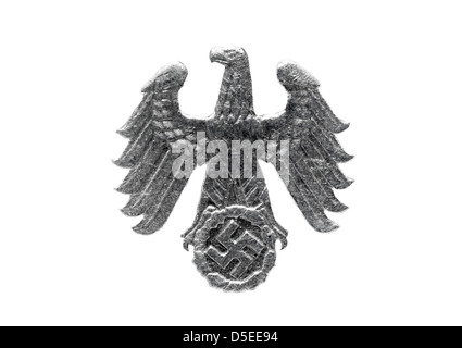 Eagle from 1 Reichspfennig coin, Germany, 1942, on white background - Stock Photo