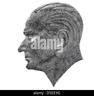 Portrait of Mustafa Kemal Ataturk from 100 lira coin, Turkey, 1987, on white background - Stock Photo