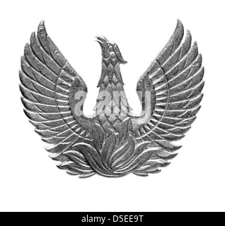 Phoenix from 5 Drachmai coin, Greece, 1973, on white background - Stock Photo