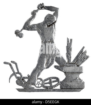 Blacksmith at anvil from 50 Kopeks silver coin, Russia, 1925, on white background - Stock Photo