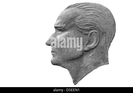 Portrait of Mustafa Kemal Ataturk from 2500 Lira coin, Turkey, 1992, on white background - Stock Photo