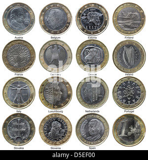 Set of 1 Euro coins from different European countries, on white background - Stock Photo